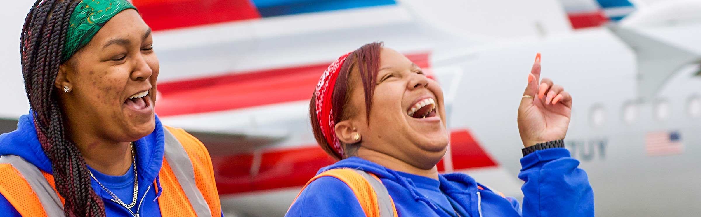 Happy aviation ground services employees